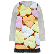 girls clothes baby kids Fall Winter black lace dress girls boutique long sleeve dress children color love heart candy dress(China)