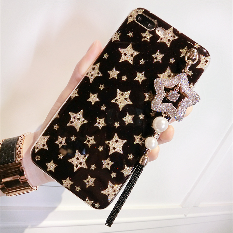 Hot-Sale-Shiny-Flash-Powder-Stars-Tassel-Pendant-Case-For-IPhone-X-8P-7-7Plus-6 (1)