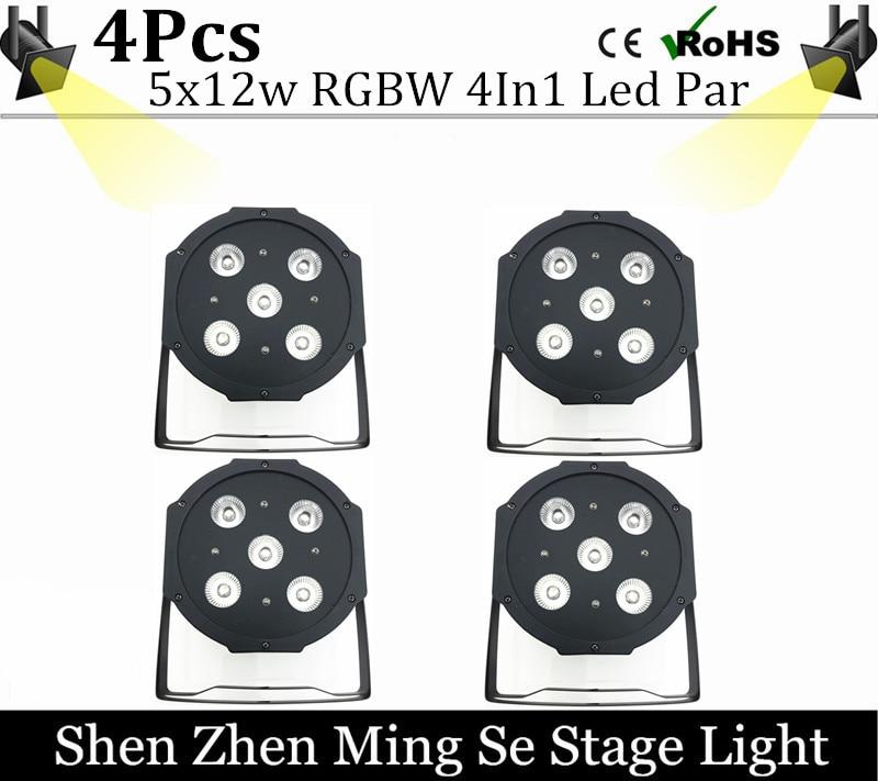 4units 5pcs 12w led  lamp beads 5x12W led Par lights RGBW 4in1 flat par led dmx512 disco lights professional stage dj equipment<br>