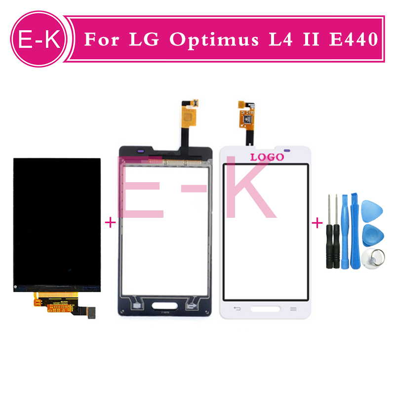 Original For LG Optimus L4 II E440 Digitizer Touch Screen Glass Sensor + LCD display Screen + Tools Free shipping<br><br>Aliexpress