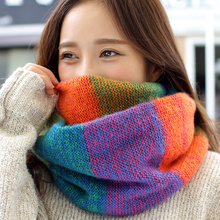 Factory Wholesale Rainbow Plaid For Women Ring Scarf Female Winter Neck Scarves LIC Knitted xaile Ladies Warm Collar Wool Scarf(China)