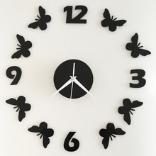 New Creative Butterfly Wall Clock Sicker 3D DIY Mirror reloj Living Room Home Modern Design Decoration Wall Watch saat