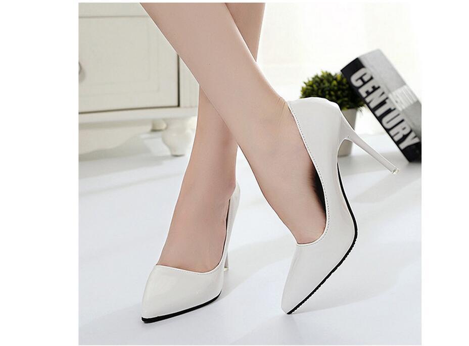 2018 Femmes Chaussures Bout Pointu Pompes En Cuir Verni Chaussures Habillées Talons hauts 26