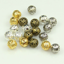 Buy 200pcs Hollow Ball Beads 10mm Abalorios Metal Charms Bronze Gold Silver Plated Filigree Spacer Beads Diy Jewelry Making Micangas for $5.49 in AliExpress store