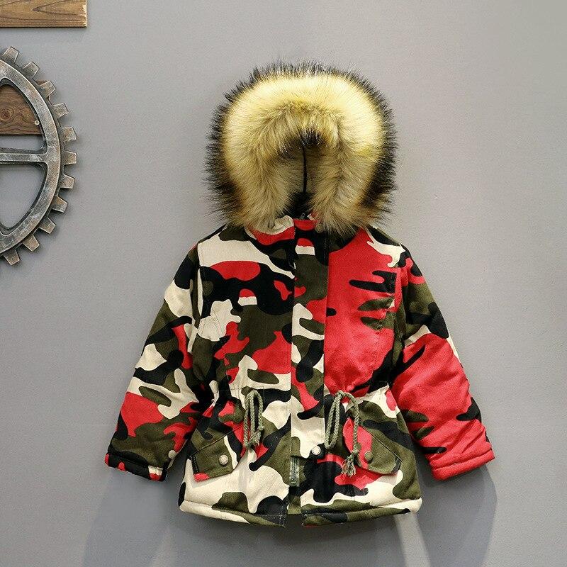 2018 Winter Children Boys Parka Jacket Kids Thicken Warm 90% Cotton Camouflage Hooded Coat Baby Boys Girls Casual Outerwear <br>