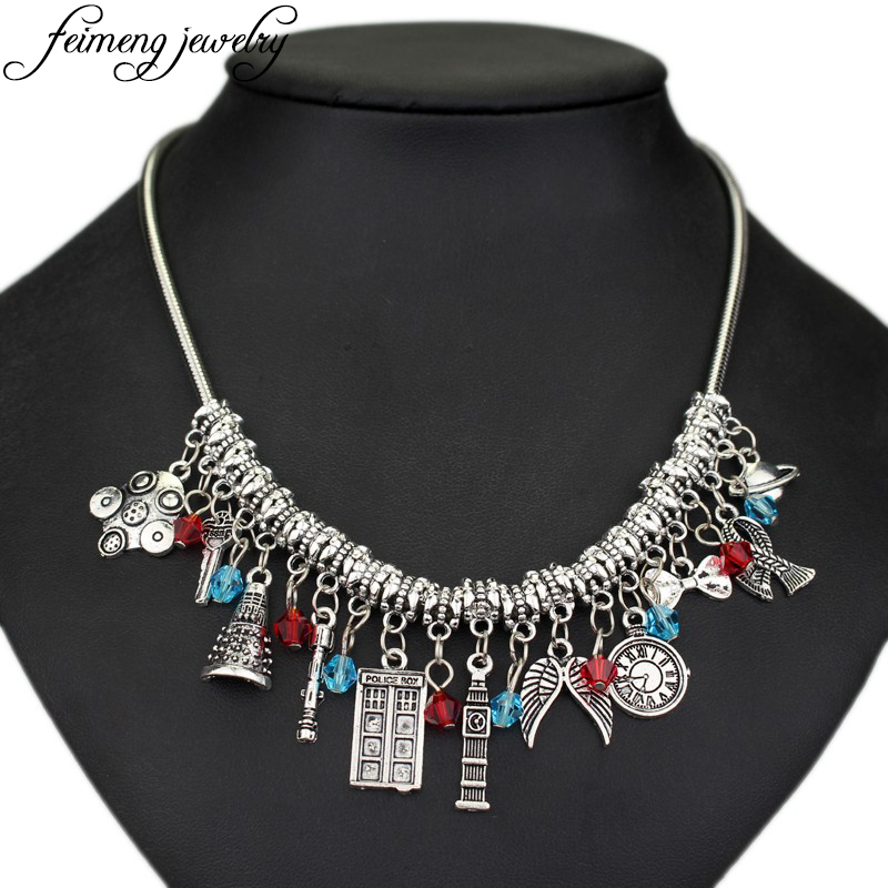 FREE GIFT BAG  Silver Dr Who Tardis Darlek Time Lord Charm Bracelet Jewellery