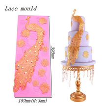 3D Peacock Silicone Molding Mould Cake Sugarcraft Mold Lace Baking Decorating(China)