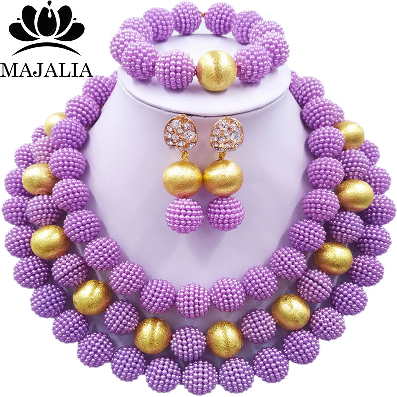 Nigerian Wedding African Beads Jewelry Set Simulated Pearl Necklace New Picture (14)
