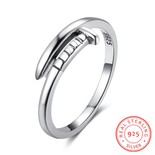 Genuine 925 Sterling Silver Nail Design Women Finger Rings Jewelry For Party Gift For Girls (RI102911)(China)