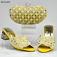 New GOLD Color Latest Design Matching Italian Shoe and Bag Set.royal Blue Wedding and Party African Shoes and Bag Set for Party