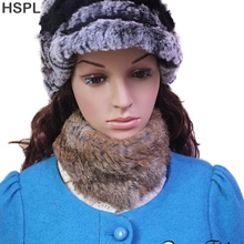 HSPL Knitted Fur Scarves 2017 New Arrival Knitted Rabbit Real Fur Scarf For Women Neck Warmer Fur headbands Ear Head scarf(China)