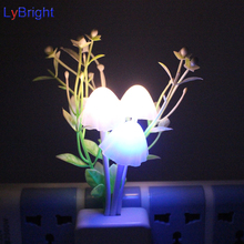 US/EU Plug Novelty Night Light AC 110-220V 0.5W Induction Dream Mushroom LED Lamp Bed Lamp Home Light Sensor Automatic Startup(China)