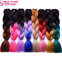 Sallyhair High Temperature Synthetic Jumbo Braids 24inch Black blue Blonde Pink Ombre Braiding Hair Extension Black White Women