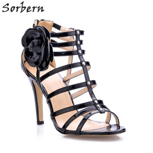 Sorbern Fashion Flowers Women Sandals Cheap Sale High Heels Sandals Women Gladiator Style Sandal Ladies Shoes Size 35 New Arrive(China)