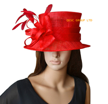 Red Ladies Hat Church Hat Sinamay Hat for wedding,Kentucky Derby.