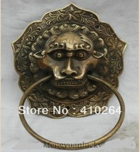 SCY $Nice Discount$ Chinese China Folk Feng Shui Door Gate Copper Lion Foo Dog Mask Head knocker
