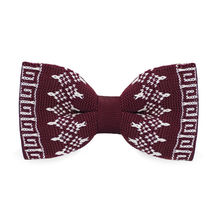 LF-343 2016 New Arrival Knitted Crochet Men`s Bowties Adjustable Dark red Novelty Geometric For Party Bussiness Free Shopping