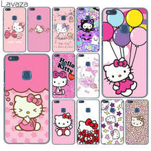 Lavaza lovely cute Hello Kitty lovely pink Hard Cover Case for Huawei P10 P9 Lite Plus P8 P7 G7 Honor 8 Lite 7 6 4C 4X(China)