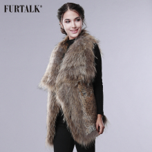 FURTALK Knit Rabbit fur Vest with Raccoon Fur Big Collar Women Winter Fur Vest Real Rabbit Fur