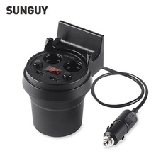 SUNGUY Car Charger Dual USB Cup Car Charger 5V 3A Voltage LED Display Screen 2 Port Cigarette Lighter Charge Adapter Cup Holder