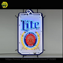 Miller Lite Can Its Miller Time Neon Sign Decorate Glass Tube Cool Neon Bulbs Recreation Room Indoor Frame Sign Display 17x14(China)