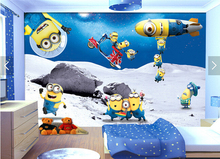 Custom animation wallpaper.3D small yellow people roaming space for the children's room living room bedroom backdrop wallpaper(China)