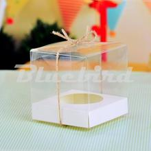 Clear PVC Transparent Cupcake Boxes Wedding Gift Box With Base Inside Wedding Party Gift Box And Packaging (Set of 12)