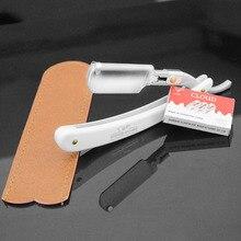 Для мужчин прямо бритья брить бороду Бритвы волос Резка парикмахерская стрижка Парикмахерские Ножи + коричневый кожаный чехол + 10 шт. лезвия(China)
