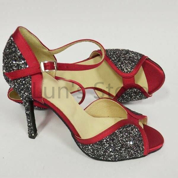 New Ladies Red Satin and Colorful Glitter Latin Salsa Dance Shoes Tango Bachata Dance Shoes ALL SIZE<br>
