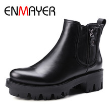 ENMAYER Black Motorcycle Boots Shoes Woman High Heels Round Toe Zippers Platform Spring and Autumn Ankle Boots for Women Shoes