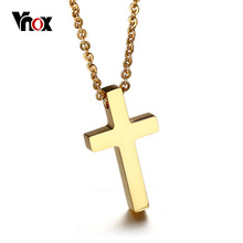 "Vnox Small Size Classic Cross Pendant Unisex Necklace for Women Men Stainless Steel 20"" Link Chain Jesus Prayer Jewelry(China)"