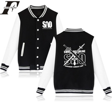 Classic Japan Anime Baseball Jacket Capless Men Hoodies And Sweatshirts Fashion Sword Art Online bonber jacket women basic coats