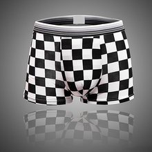 Men's Fashion Grid Pattern Underwear Sexy Shorts Boxer Cotton Underpants(China)