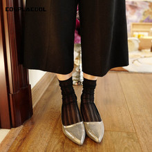 [COSPLACOOL]New Product Hollow Out Mesh Silk Cotton Japan Style Harajuku Sexy Heap Heap Socks Women Beautiful Girls Short Meias(China)