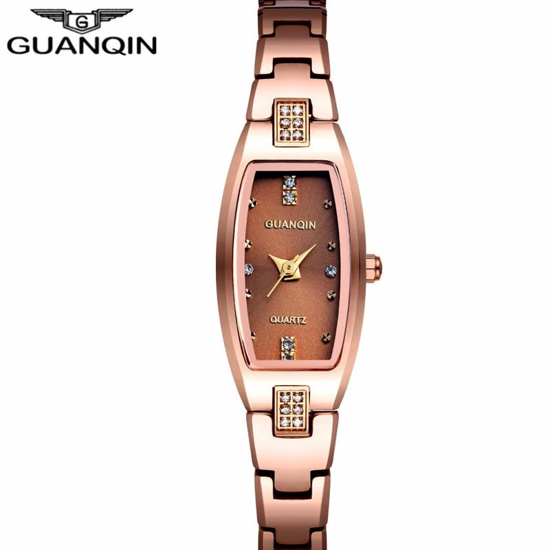 GUANQIN Luxury Brand Tungsten Steel Watches Women Quartz Watch Fashion Wrist Watch Female Ladies Dress Watch Relogio Feminino<br>