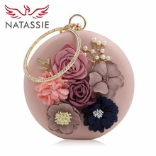 NATASSIE 2017 New Women Party Bag Ladies Flower Wedding Bag Female Evening Clutches(China)
