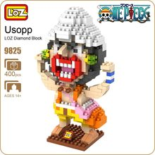 LOZ Anime Usopp One Piece Action Figure POP Funny Bricks Toys Cool Japanese Kids Toys Store Bloco Oyuncak Brick Furniture 9825