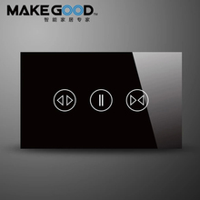 MakeGood Touch Curtain Switch with 433 MHZ frequency US/AU Standard Smart Home System Wall Switch,with Less than 1000W Motor(China)