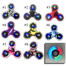 9 Colors LED Fidget Spinner Finger EDC Hand Spinner Tri For Kids Autism ADHD Anxiety Stress Relief Focus Handspinner Toys Gift