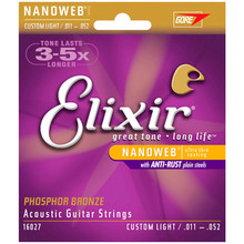 Free Shipping Elixir 16027 Custom Light (011-052)Phosphor Bronze Acoustic Guitar Strings wholesale strings guitar elixir strings