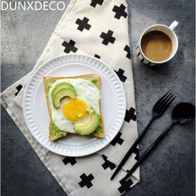 DUNXDECO 1PCS 45x65cm Modern Nordic Black Cross Print Linen Cotton Table Placemat Napkin Bar Coffee Tea Towel Photo Prop