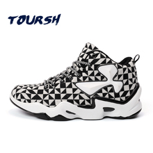 TOURSH Mens Classic Basketball Shoes For Men Mid High Top Outdoor Air Sport Brand Sneakers Man Basketball Boots zapatos hombre(China)
