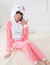 Winter New Hello Kitty Costume For Women Pyjama Pajamas Flannel Hooded Clothing For Home Adult Children Cute Animal Onesie
