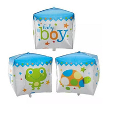 Baby Boy Baby Girl Boy Cube Shape Foil Balloon For Baby Shower Celebrate,Inflatable Print Mylar Balloon Birthday Party Supply