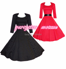 free shipping   momo red polka dot 50s vintage 3/4 sleeve flared swing  dress