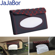 JaJaBor Car Fiber Leather Tissue Box Case High Grade Napkin Paper Hanging Clip-up Type Car Sun Visor Tissue Box with Tissue Gift(China)