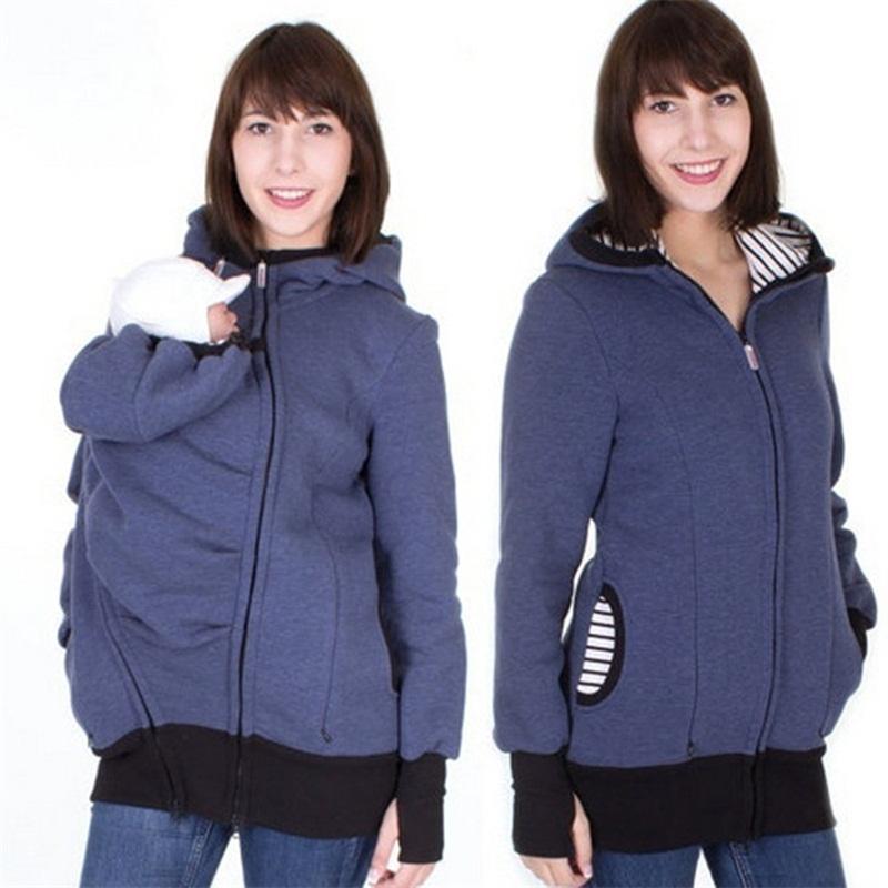 fashion style long sleeve maternity warm clothing mother autumn winter women hoddies carry baby infant sweatshirt zipper coat 5