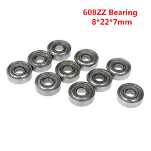 10pcs Double Shielded Miniature High-carbon Steel Single Row 608ZZ ABEC-5 Deep Groove Ball Bearing 8*22*7 8x22x7 mm(China)