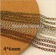 4x6mm 10Meter/lot Rhodium/Red copper/Antique Bronze Necklace Chain Bulk Iron Chain DIY Jewelry Making F612(China)