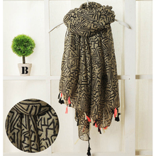 Beautiful!!Fashion Bohemian Style Warm Scarf Women Tassel Shawl and Scaves Wrap bufandas cachecol feminino Voile Scarf